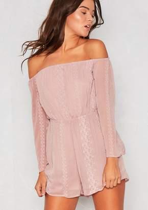 49e608b056 at Missy Empire · Missy Empire Missyempire Tacy Dusky Pink Bardot Lace  Playsuit