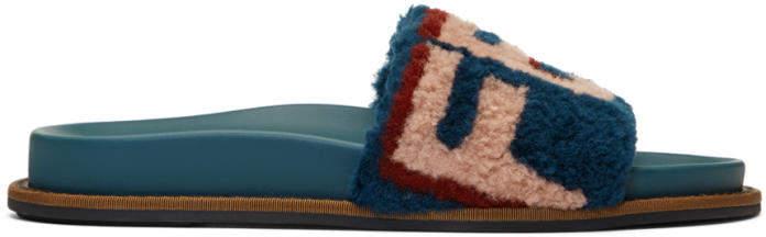 Fendi Blue Shearling Logo Slides