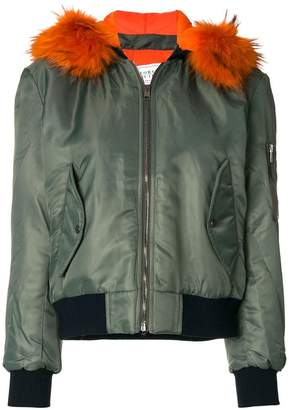 Couture Forte Dei Marmi racoon fur hooded bomber jacket