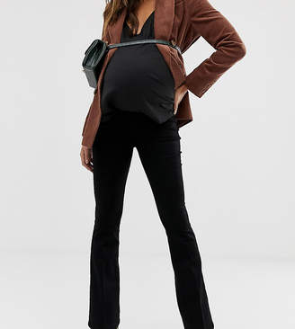 Asos DESIGN Maternity bell flare jeans in clean black with pressed crease and side bump band