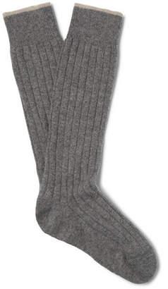Brunello Cucinelli Ribbed Mélange Virgin Wool-Blend Socks