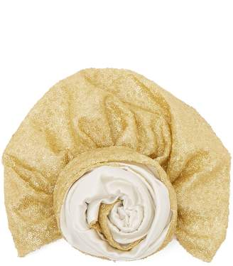 JULIA CLANCEY Sequin-embellished silk-blend turban hat