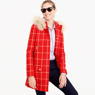 Petite chateau parka in windowpane check $378 thestylecure.com
