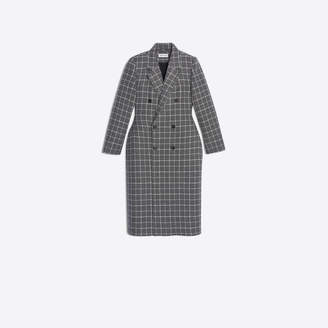 3026d3e38f51 Balenciaga Houndstooth wool mix 3D Hourglass coat
