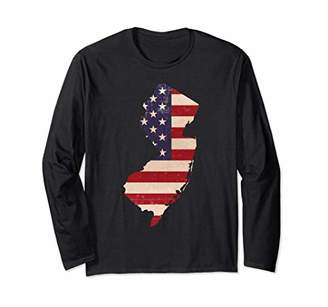 New Jersey American Flag Vintage Long Sleeve T-Shirt