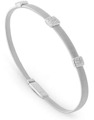 Marco Bicego Masai 18K White Gold Bracelet with Three Diamond Stations