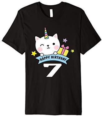 Caticorn 7th Birthday Unicorn Cat Rainbow Shirt