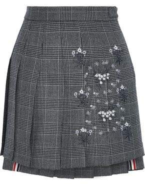 e1bc805318 Thom Browne Embroidered Prince Of Wales Checked Wool Mini Skirt