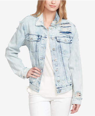 Jessica Simpson Cotton Embroidered Denim Trucker Jacket