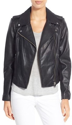 Women's Lamarque Donna Lambskin Leather Moto Jacket $495 thestylecure.com