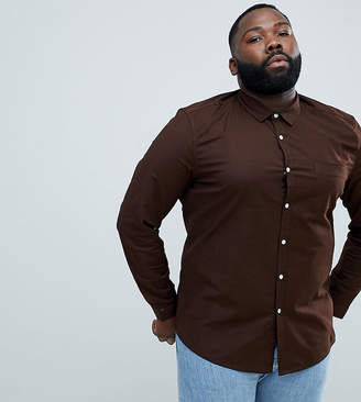 Asos DESIGN Plus slim oxford shirt in dark brown