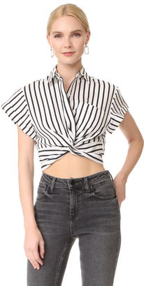 T by Alexander Wang Striped Twist Front Crop Shirt $250 thestylecure.com