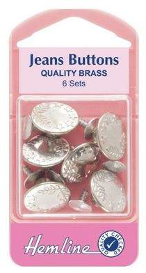 Silver Jeans Hemline 16Mm Non Sew Buttons (6 Pieces)