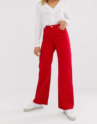 Monki Yoko wide leg jeans with organic cotton in red