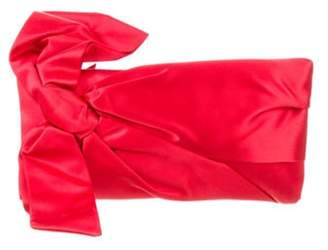 Valentino Satin Draped Clutch w/ Tags Red Satin Draped Clutch w/ Tags