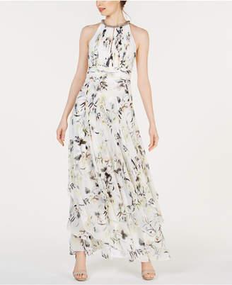 b9cff1cc6d6 Calvin Klein Floral-Print Halter Gown