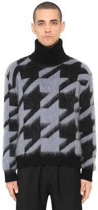 Givenchy Brushed Wool Blend Houndstooth Sweater