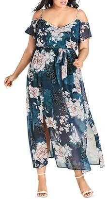 City Chic Plus Jade Blossom Cold-Shoulder Maxi Dress