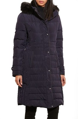 Women's Lauren Ralph Lauren Quilted Three Quarter Coat With Faux Fur Trim $300 thestylecure.com