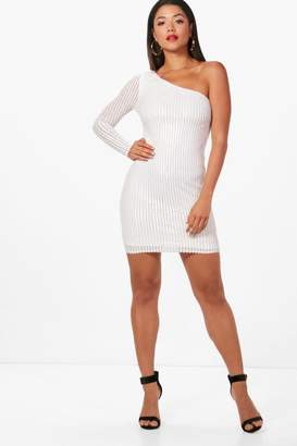 boohoo Boutique Stripe Sequin One Shoulder Dress