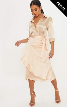 PrettyLittleThing Petite Champagne Satin Wrap Skirt