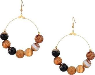 Kenneth Jay Lane Women's Gold Hoop Agate Bead Fishhook Earrings