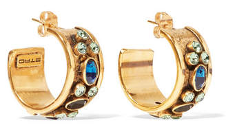 Etro - Gold-tone Crystal Hoop Earrings $450 thestylecure.com