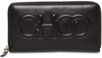 Jimmy Choo Bettina Embossed Logo Leather Wallet