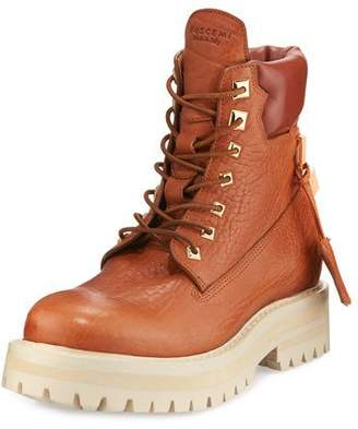 Buscemi Lace-Up Leather Site Boot, Whiskey