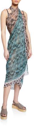 Stella McCartney Timeless Snake-Print Silk-Cotton Sarong