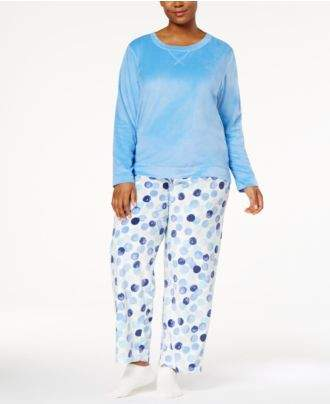Hue Plus Size Sueded Fleece Top & Printed Pants with Socks Pajama Set
