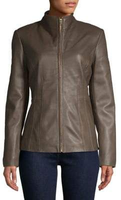 Cole Haan Slim-Fit Leather Jacket
