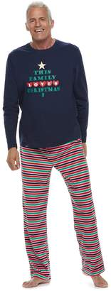 """Men's Jammies For Your Families """"This Family Loves Christmas"""" Top & Microfleece Striped Bottoms Pajama Set"""