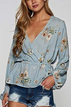 Love Stitch Blue Floral Top