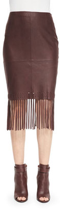 Elizabeth and James Jaxson Leather Skirt W/Fringe, Brown $695 thestylecure.com
