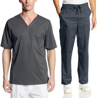 Cherokee Mens Luxe Scrub Set Super-Soft Fabric Medical/Dentist Uniform with V-Neck Top & Fly Front Drawstring Pant