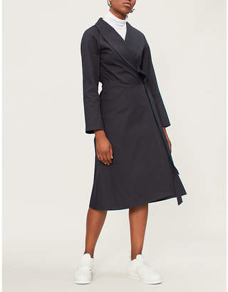 A_PLAN_APPLICATION Asymmetric cotton-twill dress