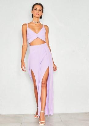 3960daac00 Missy Empire Missyempire Ashley Lilac Bralet Split Trouser Co-ord Set