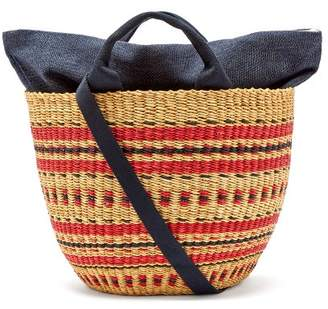 Muun Striped Woven Grass Basket Bag - Womens - Red Navy