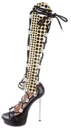Versace Lace-Up Platform Boots
