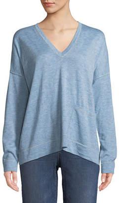 Eileen Fisher Fine Tencel-Alpaca Topstitch V-neck Pullover Sweater