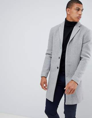 Selected recycled wool overcoat in gray