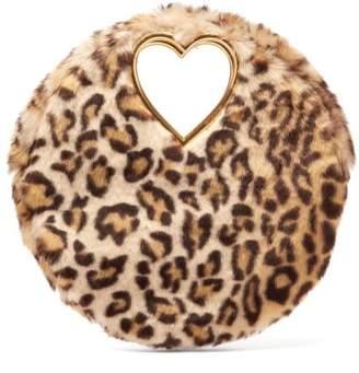Shrimps - Martini Leopard Print Faux Fur Clutch - Womens - Leopard