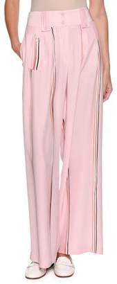 Emporio Armani Wide-Leg Silk Trousers with Sport-Stripe Trim