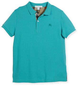 Burberry Mini PPM Pique Polo Shirt, Turquoise, Size 4-14 $70 thestylecure.com