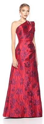 ML Monique Lhuillier Women's One Shoulder Floral Gown,6