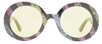 Gucci Round Frame Glitter Acetate Sunglasses - Womens - Black Multi
