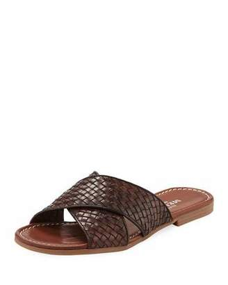 Sesto Meucci Nera Flat Woven Leather Slide Sandal