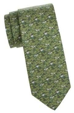 Salvatore Ferragamo Camo Squirrel and Tree Silk Tie
