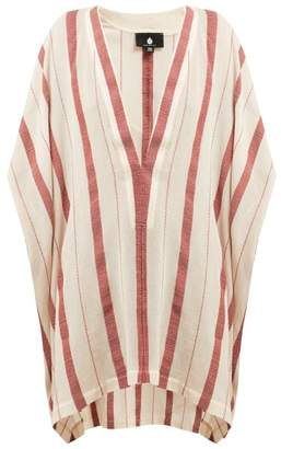 Su - Buka Striped Cotton Gauze Kaftan - Womens - Red Stripe